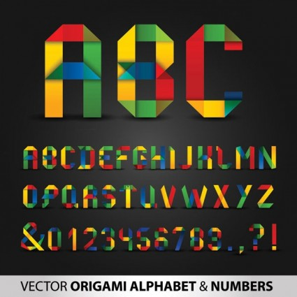 colorful origami letters and numbers vector