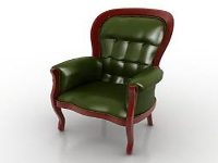 Green leather sofa chair 3D model