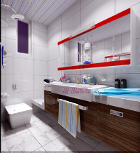 Modern bright and spacious bathroom 3D model