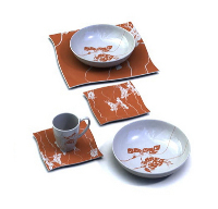 Red and white ceramics tableware