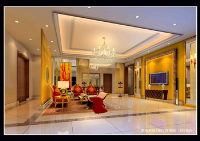 The warm brilliant color modern living room model
