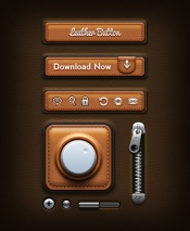 Leather UI elements PSD material