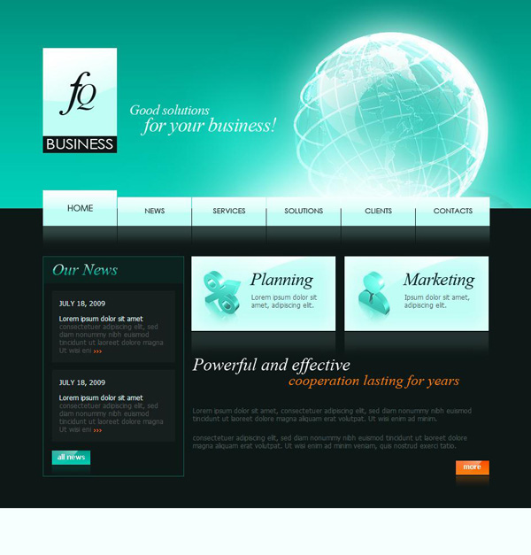 Transnational corporate CSS Web templates