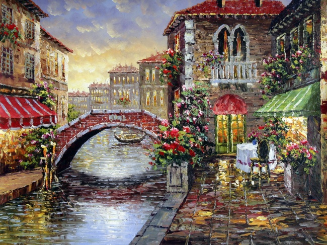 Village oil painting in Europe and America the beautiful scenery pictures